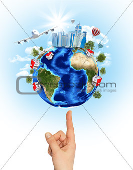 Woman hand hold Earth with buildings and airplane