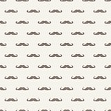 Seamless vector pattern with brown mustaches on beige background.