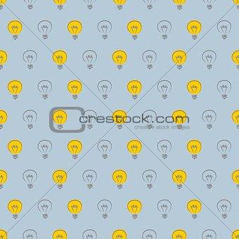 Tile vector pattern with light bulb outline on grey background