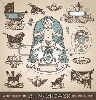 baby shower antique design elements set (vector)