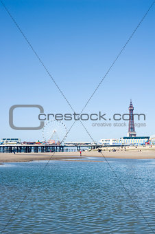 Blackpool Tower and piers, Blackpool, England