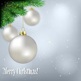 Abstract background with white Christmas decorations and pine br