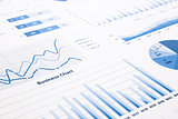 blue business charts, graphs, statistic and reports