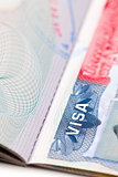 macro shot of a U.S. visa on passport page