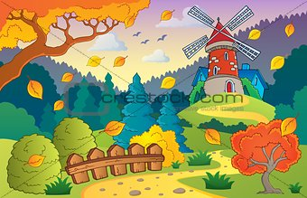 Autumn landscape with windmill 1