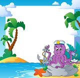 Beach frame with octopus sailor