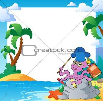 Beach frame with octopus teacher