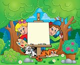Tree theme with painting children