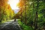 Biker on mountainous road