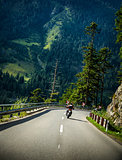Motorcyclist on mountainous road