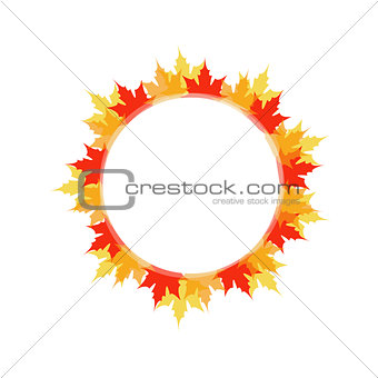Artwork or frame with red and yellow maple leaves