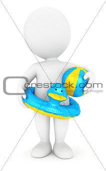 3d white people with a swim ring and a ball