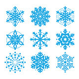 Snowflakes, winter blue vector icons set
