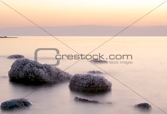 Dead Sea coastline, whit salt crystals and formations