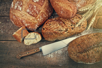 Assortment of breads on wood