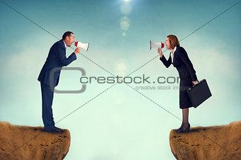 business concept conflict megaphone