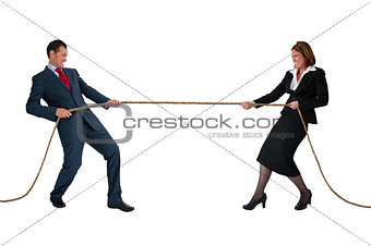 businessman and woman tug of war isolated on white