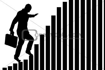 businessman climbing a bar chart isolated on white