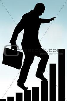 businessman climbing a bar chart silhouette