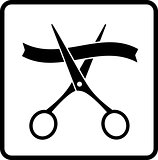 black scissors and ribbon