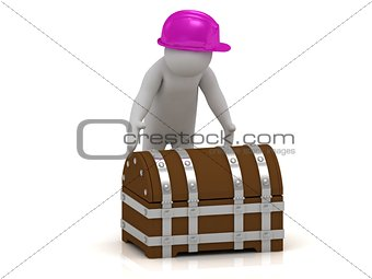 3D man is going to opening a wooden chest