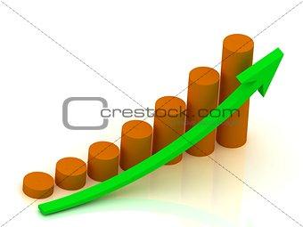 Business graph output growth of orange pillars