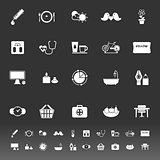 Health behavior icons on gray background