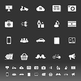 Social network icons on gray background