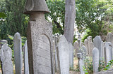Ornate turkish headstones in graveyard