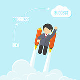 Businessman Flying On the Rocket To Success