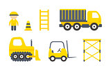 Vector Construction Machines Set