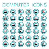Set of 36 web icons for computer and laptop technology electronics business theme