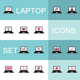 Set of 15 web icons for laptop computer electronics business theme