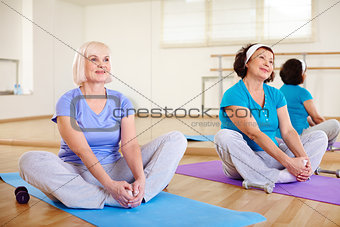 Sitting on mats