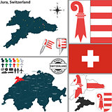 Map of Jura, Switzerland