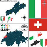 Map of Neuchatel, Switzerland