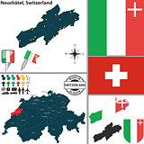 Map of Neuchatel, Switzerland
