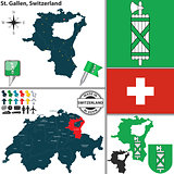 Map of St. Gallen, Switzerland