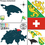 Map of Thurgau, Switzerland