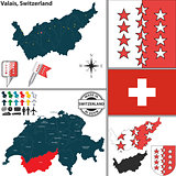 Map of Valais, Switzerland