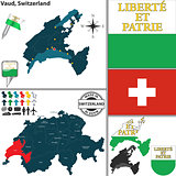 Map of Vaud, Switzerland