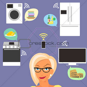 Blond woman thinking about smart gadgets at home and applications around her.