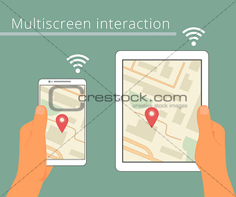 Multiscreen interaction. Synchronization of smartphone and tablet pc.