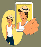 Guy wearing hat is taking selfie. Handdrawn vector illustration.
