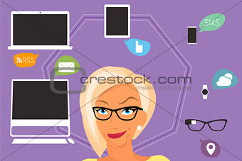 Blond woman thinking about gadgets and applications around her.