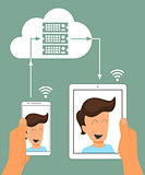 Multiscreen interaction. Synchronization of smartphone and tablet pc via cloud server.