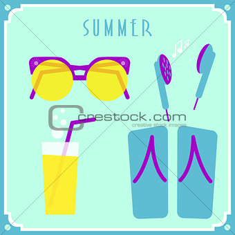 Blue summer card with sunglasses, headphones, cocktail and shoes.