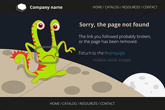 Green monster on strange planet. Page not found Error 404.