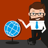 Lucky businessman is presenting a globe. Conceptual illustration.