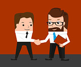 Lucky businessman is shaking hands with a colleague. Conceptual illustration